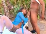 Spy that mind blowing fucking vid where that horny black girlfriend in white fishnet pantyhose has her mouth and pussy stuffed with a throbbing cock ...
