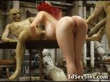 A big titted babe gets mouth and ass drilled deep by big dicked evil zombies in an abandoned army bunker!