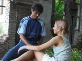 One exhibitionist teen offers her young snatch to an established stud while right outdoors!