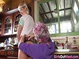 Raunchy hairy lesbians use a strap on dildo