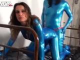 Horny latex amateur Fiona drilled with a strap on