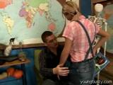 Watch this blonde girl as she is getting some extra lessons from her biology teacher. She sits down on his lap where he bares her ...