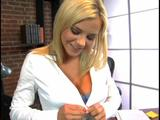 An office girl Bree Olson removes her bra and shows off big-tits. She then pleasures her pussy with her fingers. Not contented, she masturbates her ...