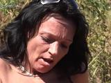 Cum over this hot mom who is alone & aroused. She pounds her pink pussy with sex toy outside then prepares a hot action with ...