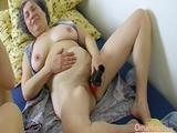 Older granny visited by lusty couple enjoying toys masturbation threesome Find this video on our network Oldnanny.com