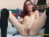 Cute skinny redhead in batman t shirt and with naughty glasses struggling with her need for masturbating before even gold show started! She just need ...