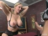 Wank to one amazing fucking scene where one large-titted blonde chick Julia Ann blows that meaty penis. She later gets hammered hard by her student!