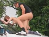18yo russian girl copulated on the car by her horny boyfriend