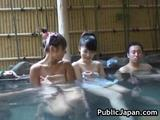 Those two cute Asian babes both naked gets abused in the hot spring.