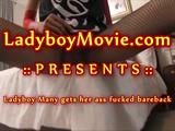 Big-cocked Thai ladyboy Many gives a blowjob to a guy with huge dick and gets her ass fucked bareback roughly. Facial at the ending.
