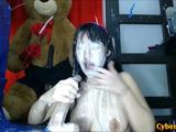 Nasty Asian babe is covered in cum literally, her whole body is in cum and she wants more from this machine that never stops cumming ...
