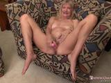 Old mature granny blonde with small tits toy masturbating hairy pussy