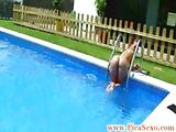 Hot busty chica comes out pool to suck after teasing dude