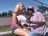 Enjoy that blonde teen tongues that thick dark dick. She then gets her twat slammed hard til it cums tasty sperm on her face!