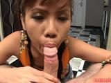 Young Thai tranny upskirts and pulls down her demin miniskirt. Then she falls on her knees and gives a blowjob. At the final Luktan cums ...
