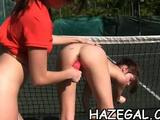 Check out as these hot girls pleasures and lick one another's sweet vagina in a public place.