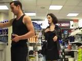 Two girls and one guy enjoying themselves in public, without caring they might get caught!