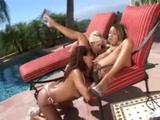 Cum as some sorority sluts get wet and lick their clits by the pool!