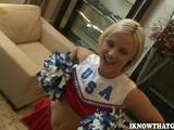 One horny sorority girl poses as a athletic supporter clearly doing cartwheels over her boyfriend's hard-on!